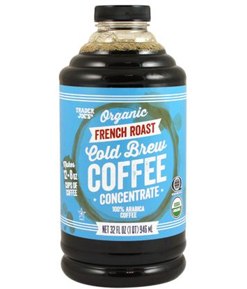 Trader Joe's Organic French Roast Cold Brew Coffee Concentrate 32oz/946ml for $9.99   May 06, 2016 in What's New  that's about 83¢ per 12-ounce cup of coffee you make with it. Drink up...