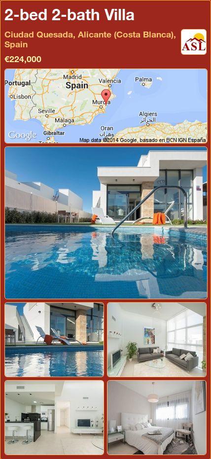 2-bed 2-bath Villa in Ciudad Quesada, Alicante (Costa Blanca), Spain ►€224,000 #PropertyForSaleInSpain