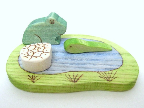 Life Cycle of a Frog - Wooden Toy Frog and Tadpole Set - Metamorphosis of a Frog. £17.00, via Etsy.