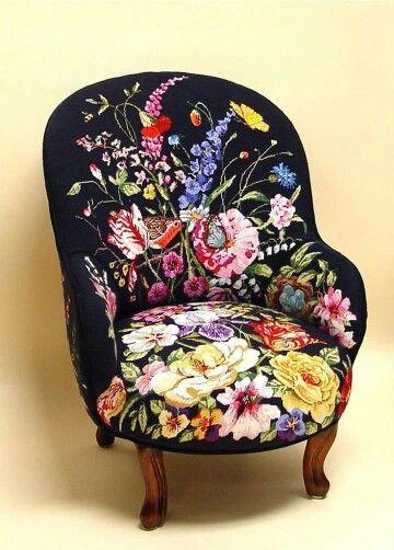 Custom needlepoint chair, shabby.