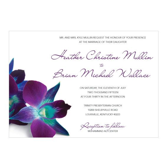 Blue & Purple Orchid Wedding Invitations  digital by Studio1013