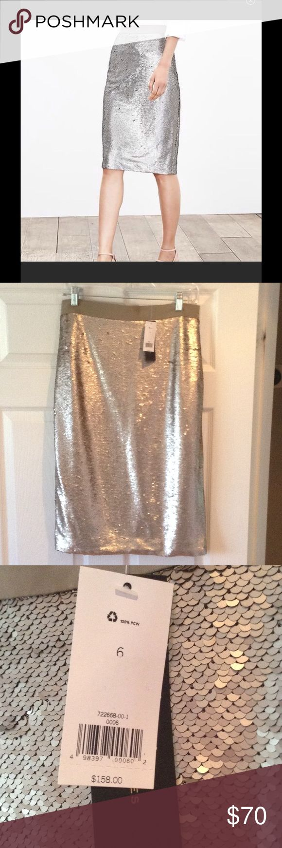 Banana Republic Pencil skirt sequin Beautiful silver pencil skirt. Size 6. Nwt! Great for a party or just because. Banana Republic Skirts Pencil