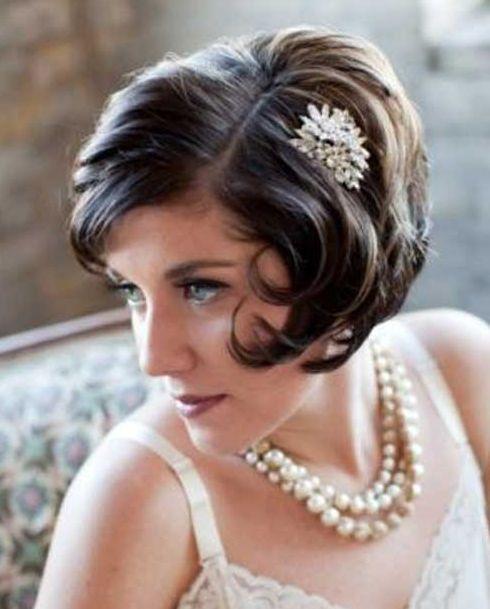 Bride with short bob - I'm thinking Great Gatsby style wedding day