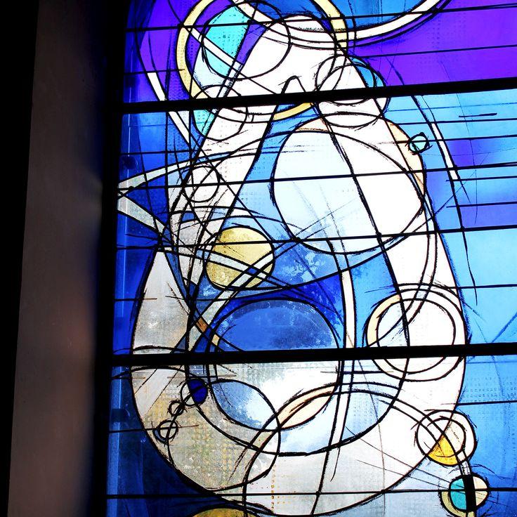 """Vitrail de l'Église Protestante de Schweighouse-sur-Moder. """"Le Baptême"""""""