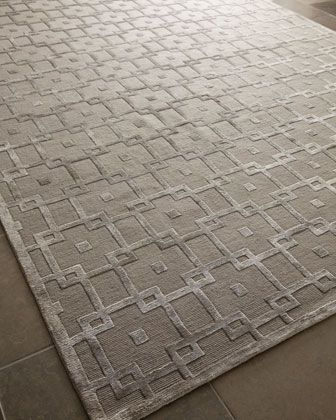 """""""Silver Blocks"""" Rug at Horchow.  how cool it this for a dining room ?"""