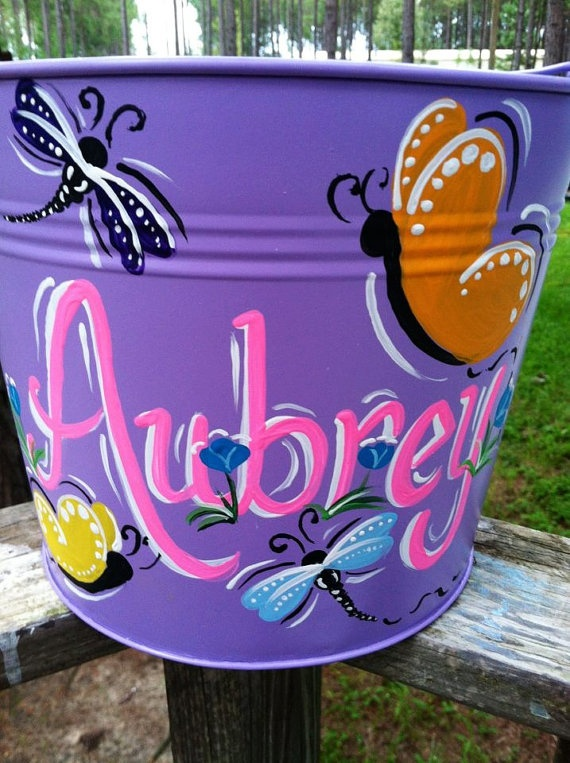 24 best painted buckets images on pinterest easter baskets personalized easter bucket by designsbylisa1 on etsy 2500 negle Images
