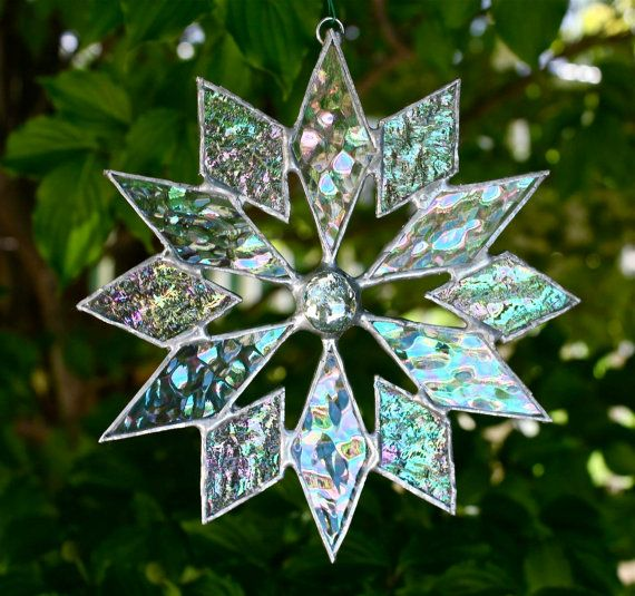 stained glass snowflake suncatcher (Etsy) $15 Design #4