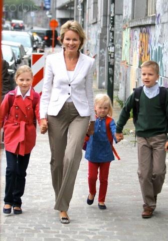 (C)Princess Mathilde of Belgium  and her children,(L-R) Princess Elisabeth, Princess Eleonore and Prince Gabriel, arrive at the Sint-Jan-Berchmanscollege in Brussels, Belgium, 03 Sep 2012