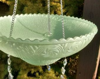Green Hanging Glass Bird Feeder Bird Bath Vintage Pinwheel Light Shade Glass Recycled