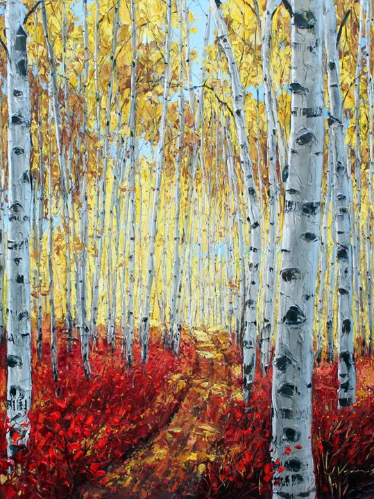 Painted Art Of A Birch Tree In Autum