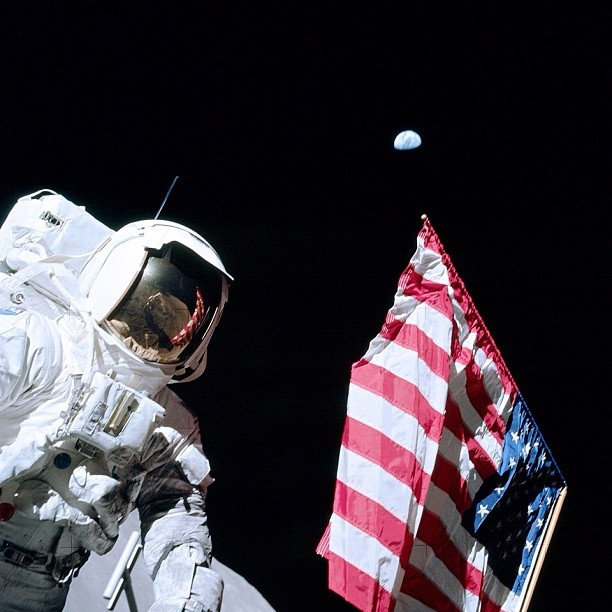 The Last Flag on the Moon  Astronaut Harrison H. Schmitt salutes deployed United States flag on lunar surface.   #NASA #USA #America #Moon #Earth #Remembering - @camillasdo- #webstagram