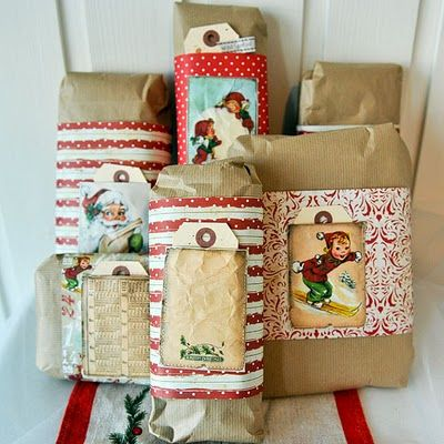 Delightful Gift Wraps With Vintage Picture Pockets; Manila Tags Are Used For Nametags! Awesome Ideas
