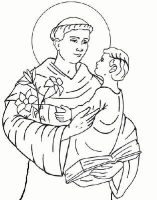 Sant'Antonio da Padova - http://www.bambinievacanze.com/2013/10/santi-da-colorare-per-bambini-disegni-immagini-da-stampare.html