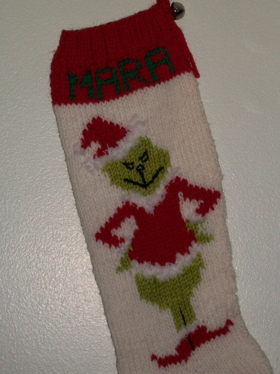 Pattern Only Hand Knitted Grinch Christmas Stocking