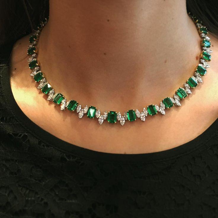 Esmerald and diamonds