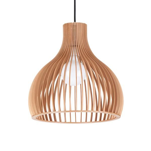Aragon Wooden Pendant Lamp Red Cord 295 ClickOn Designer Furniture Relaxed Modern Beach