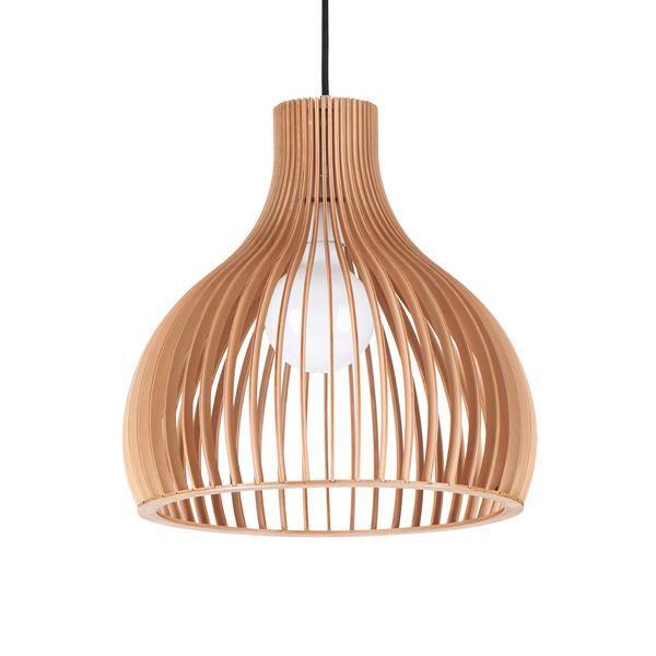 Aragon Wooden Pendant Lamp Red Cord 295 Clickon Designer