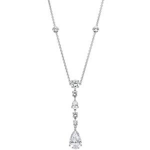 This very attractive cubic zirconium necklace set in sterling asilver is perfect as bridal jewelry and for those special dressy occasions. This necklace gives you a very classy, sophisticated look at minimal cost. The combination of pear and round cuts on the gemstones creates an interesting and elegant necklace.