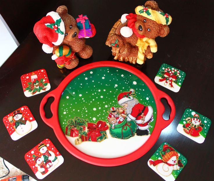 Juego de osos + Bandeja Navideña + 6 portavasos resinados - 120.000 Bogotá - Colombia 3188602780 Paola Suárez