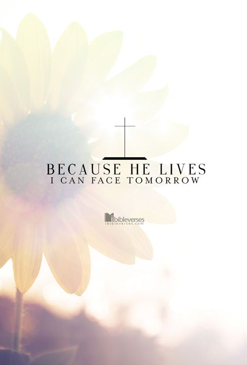 Because He lives, I can face tomorrow. Because He lives, All fear is gone. Because I know He holds the future, And life is worth the living just because He lives. ~ Bill Gaither