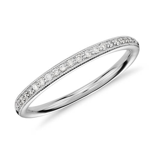 Matching Band - Heirloom Petite Pavé Diamond Ring in 14K White Gold (1/8 ct. tw.)