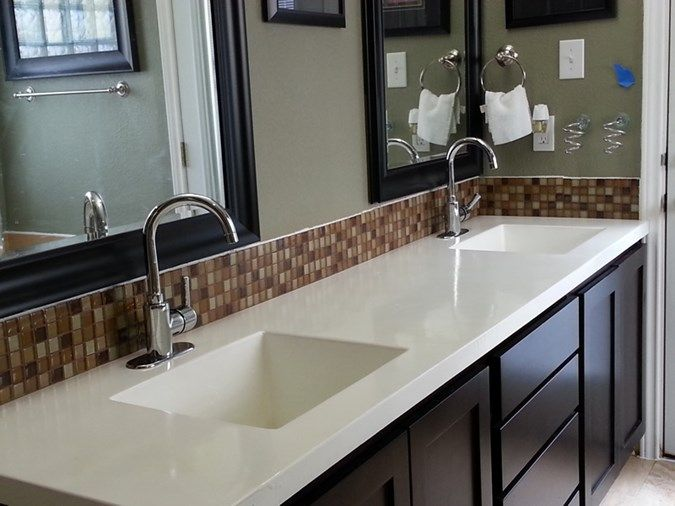 Concrete counter tops continuous with sinks easy to clean - Kitchen sinks austin tx ...