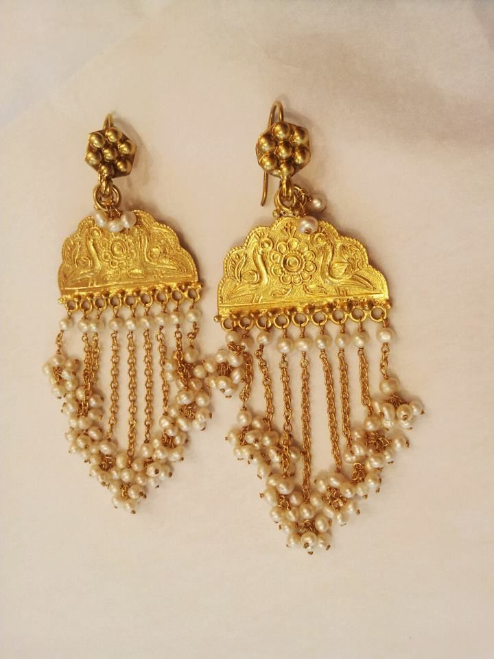 gold and seed pearl jhoomer-shaped earrings