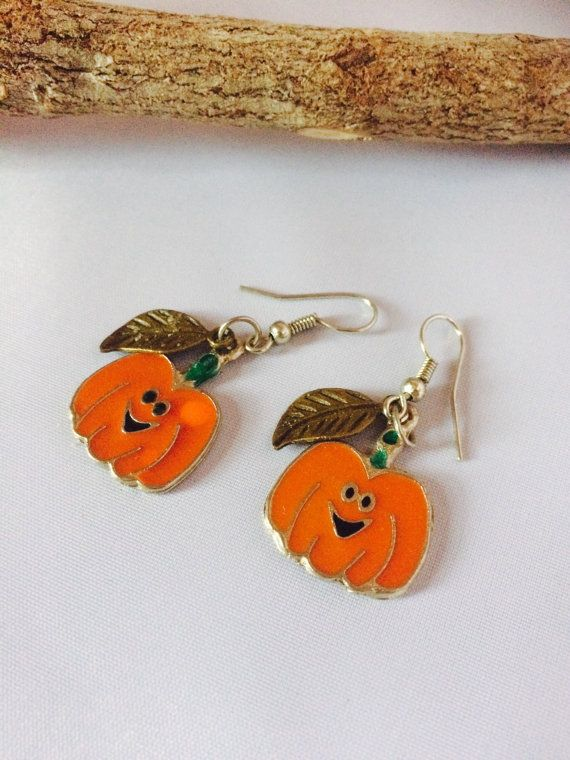 Fall Pumpkin Earrings, Thanksgiving Earrings, Fall Earrings, Jack-o-Latern, Girls, Earrings, Fall Jewelry, Kids Jewelry, 🎃🎃🎃🎃  Super cute pumpkin earrings with bronze leaf charms. Perfect for Halloween, Thanksgiving, and the entire fall season. Lightweight earrings suitable for any age.