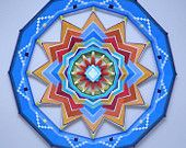 Wheel of Life, 32 inchs, with acrylic and wool yarns, In Stock, ready to ship