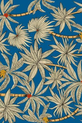Foli azul - Para tingir tecido. Estampa de folhas e flores.