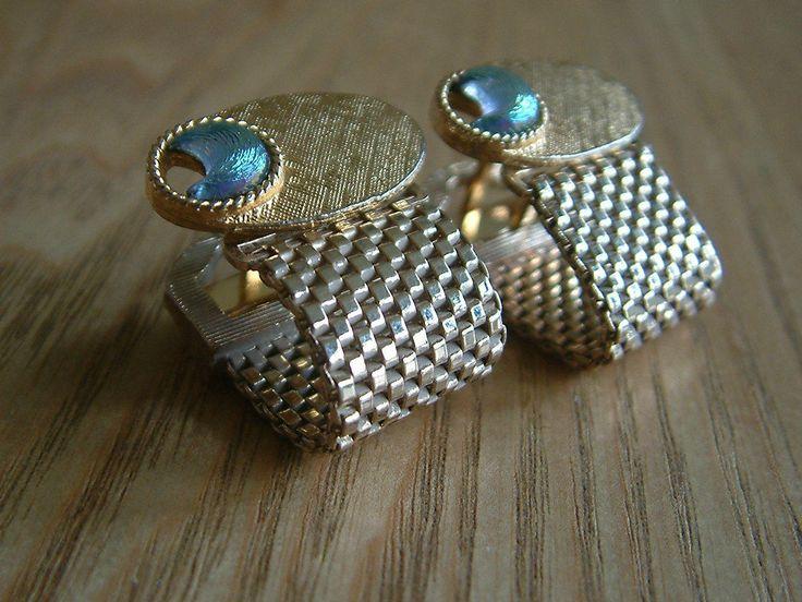 Smart Vintage Designer Wraparound Cufflinks Goldtone With Removeable Mesh   eBay
