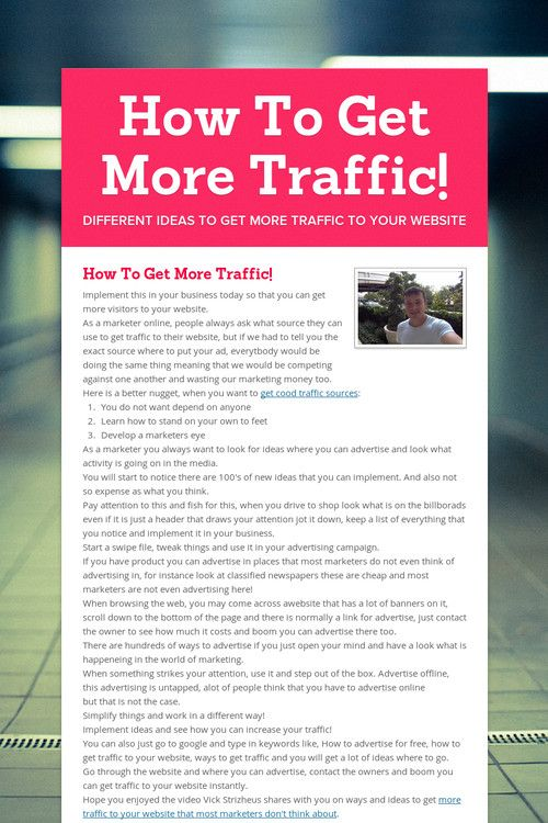 How To Get More Traffic!
