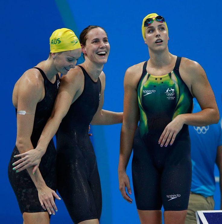 Madison Wilson, Bronte Campbell y Brittany Elmslie de Australia