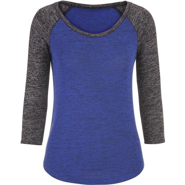 maurices Baseball Tee With 3/4 Length Sleeves ($26) ❤ liked on Polyvore featuring tops, t-shirts, shirts, blue twilight combo, three quarter sleeve shirts, womens plus size t shirts, 3/4 length sleeve shirts, baseball shirts and 3/4 sleeve tee