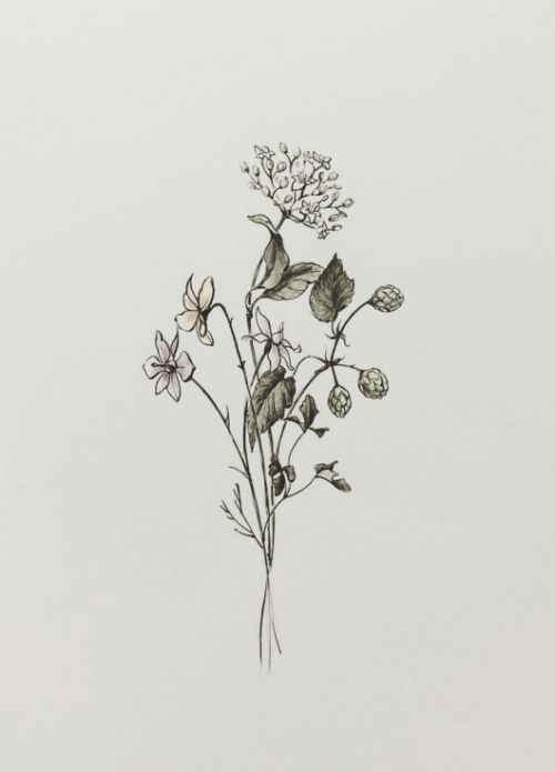 Small Botanical Bouquet Tattoo Design