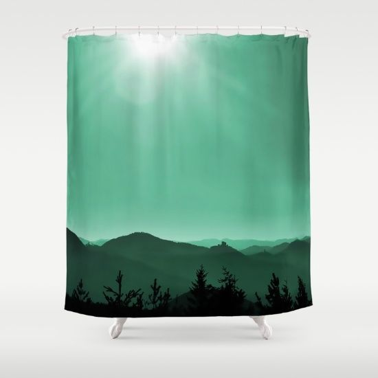 My scenic homeland Shower Curtain ABOUT THE ART View from an outlook over my wonderful homeland with it's mountains and castles (you can see 8 of them from this point) , ruins and rocks. Original pic and added green tones.  Nature, landscape, mountains, silhouettes, trees, castles, sun, sunrays, Germany, Palatinate, green,black, Trifels castle