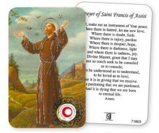 Saint Francis Prayer Card with Relic.