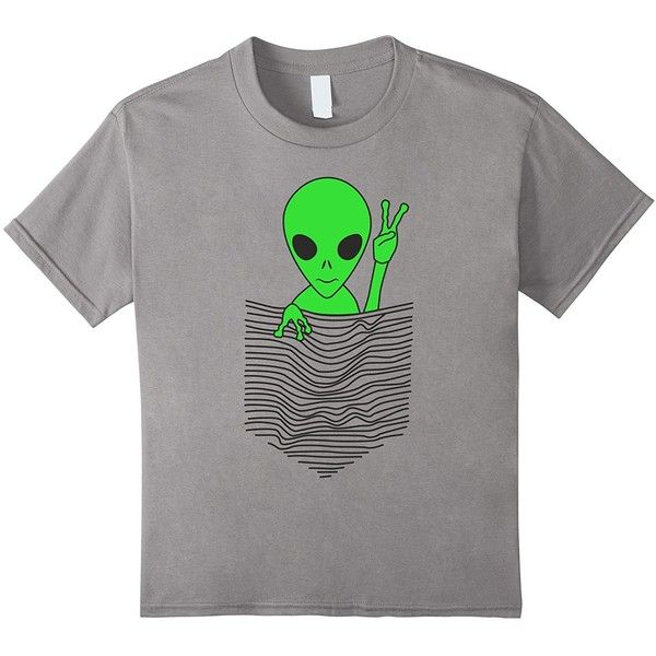 "Cute Green Alien in a drawn ""pocket"" Casual T-Shirt ($19) ❤ liked on Polyvore featuring tops, t-shirts, green t shirt, green tee, pocket t shirts, pocket tees and green top"
