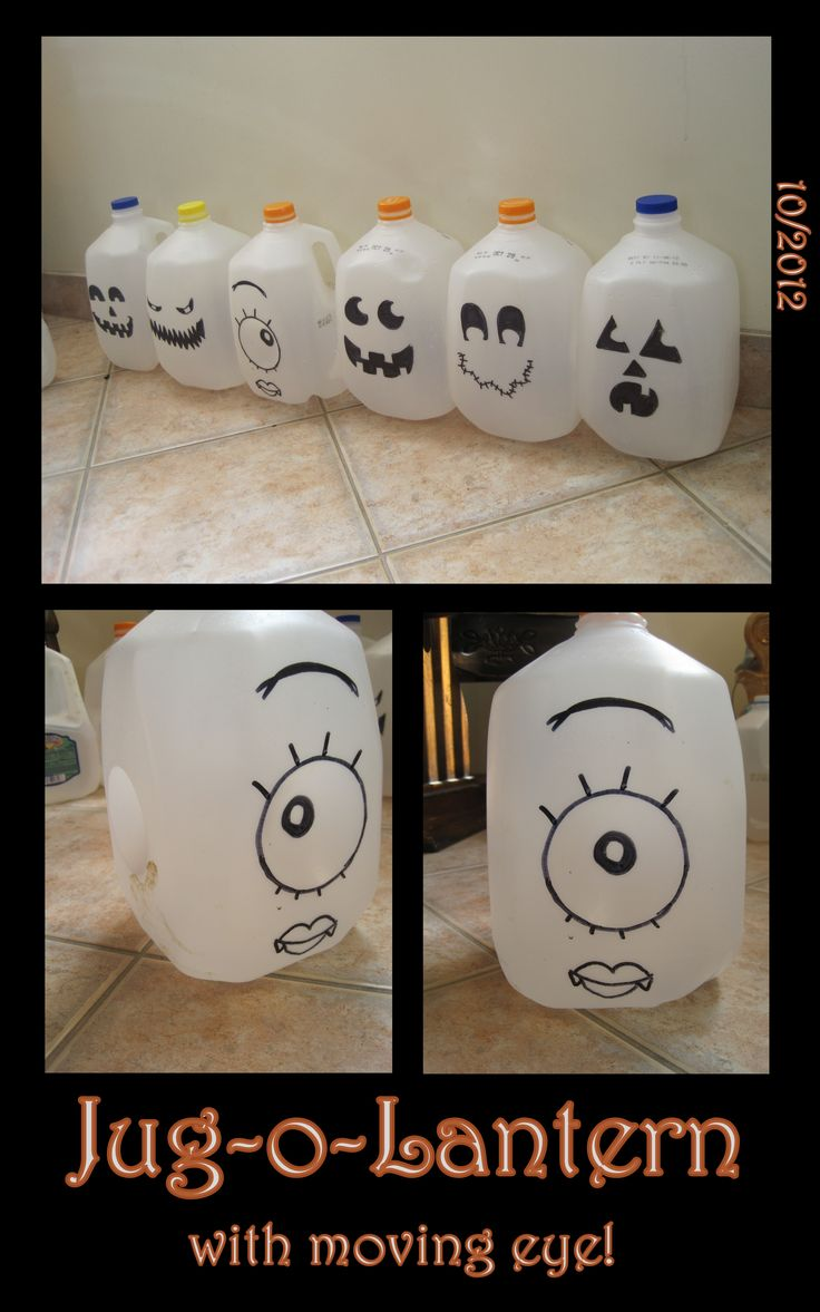 I was making these milk jug lanterns when i noticed that certain jugs had the indented circle on every side, so i did a quick experiment-just drew a dark outlined circle in the middle of the indented circle and it worked! an eye that follows you! the night of halloween night (since i dont have christmas lights) im going to fill them up with water (wiegh them down) and stick a glowstick bracelet inside so they glow :]
