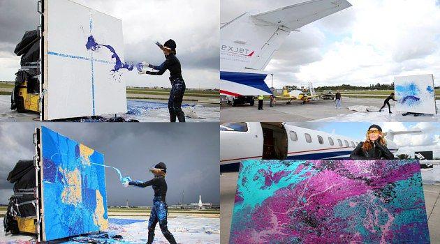 #6aksinyeleneh Melukis dengan bantuan pesawat jet - Seorang seniman asal Florida, Princess Tarinan von Anhalt menciptakan karya seni abstrak dengan melemparkan kaleng dan botol cat ke udara dan membiarkan angin kencang yang dihasilkan oleh mesin jet memercikkan cat itu ke atas kanvas.