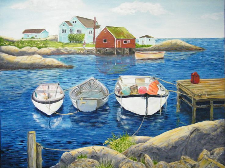"""Another original oil on canvas; This too is from photo's taken at Peggy's Cove Nova Scotia. The size is 24"""" X 30"""" and is priced at $298. SOLD"""