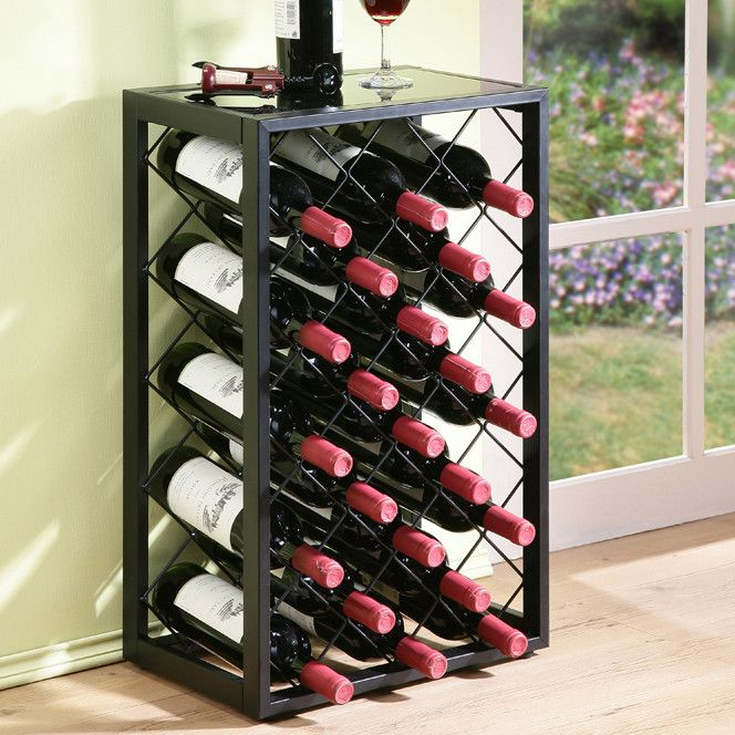 Features: -Compact free standing wine rack, with a contemporary design. -Floor levelers for stability. -Glass table top adds extra functionality. -Holds standard 750ml bottles. -Steel constructio