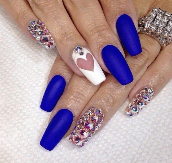 nails.quenalbertini: Blue Acrylic Nail Art Design, 2016
