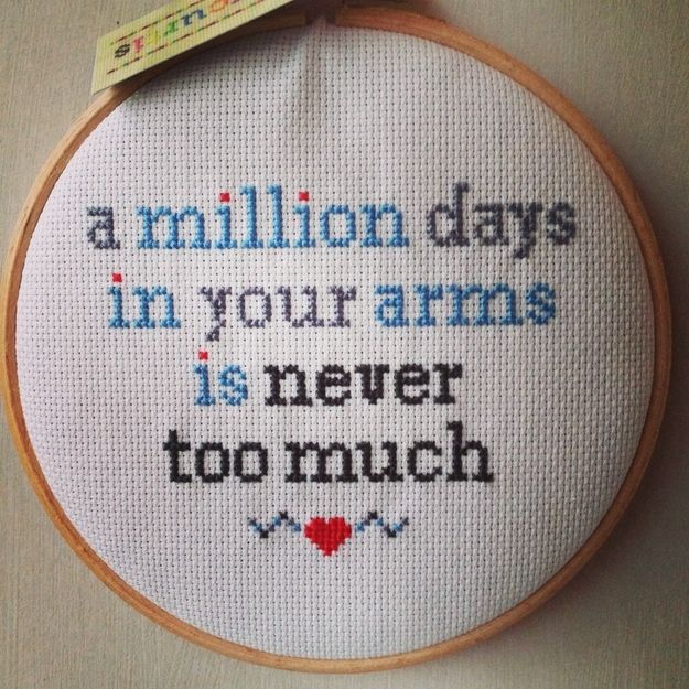 And the stories behind some of the pieces will melt your heart. | There Is An Etsy Artist Who Cross Stitches Pop Lyrics And They Are So Perfect