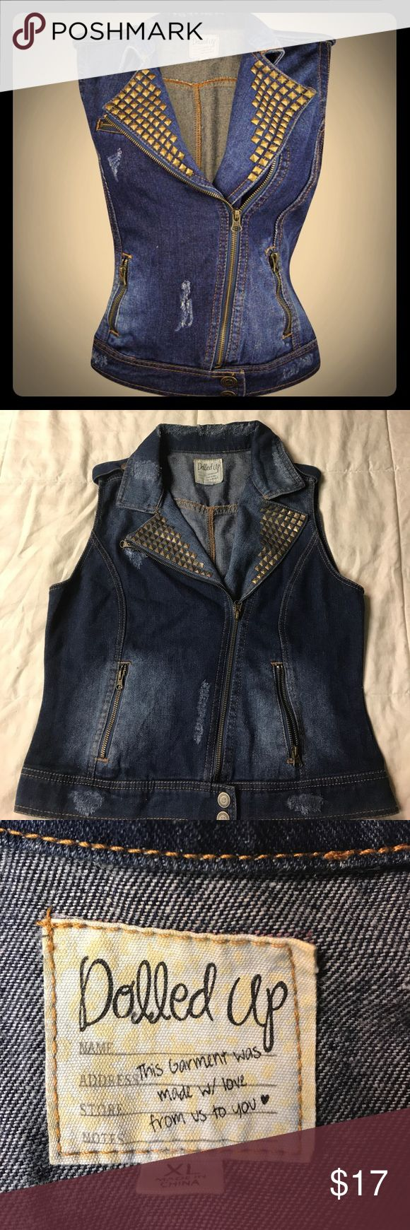 Distressed Dolled Up Denim Vest 💕🕸💕 never worn! Punk rock, metal vest worthy! Form fitting and super comfortable material. Gold pyramids/studs on the front collar. Two front zipper pockets that are actually functional! Would look great wth some awesome patches sewed on if that's your thing! 🦇💕 Size XL, but I think it fits between a L and XL. dolled up Jackets & Coats Vests