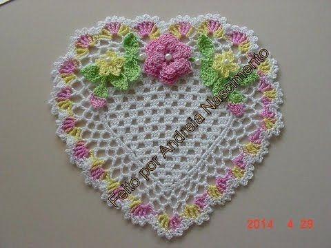 diy toalhinha coração feita de crochê - faça você mesma - YouTube