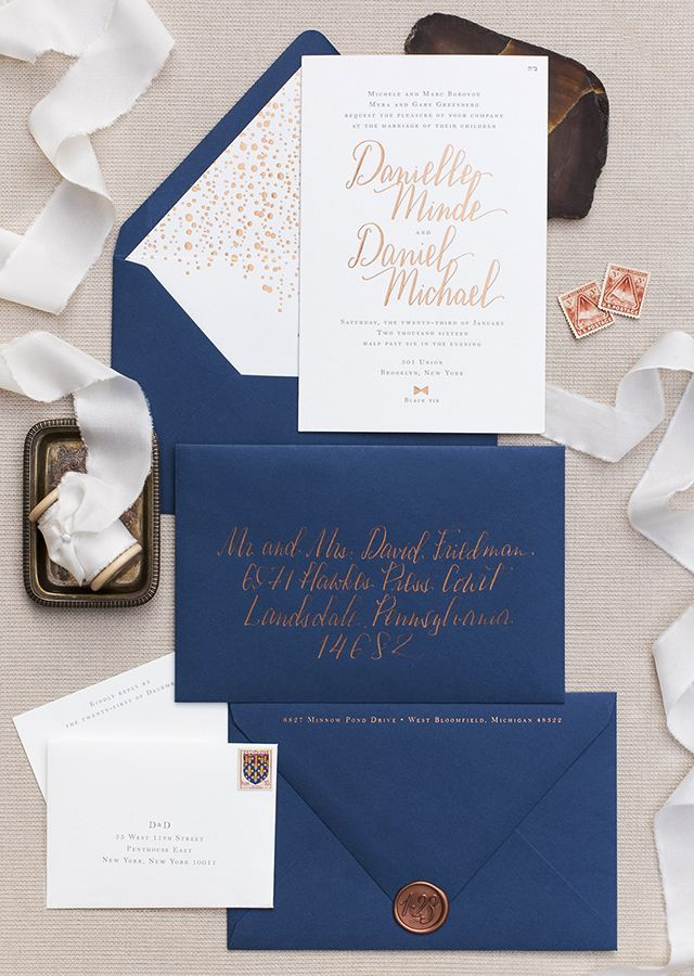 time wedding invitatiowording%0A Copper Foil and Navy Calligraphy Wedding Invitations