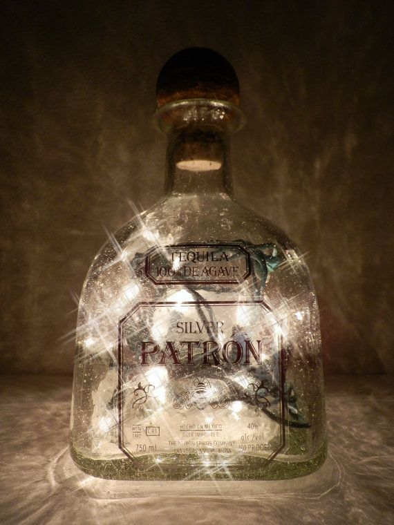 Patron Lighted Bottle. Easy DYI.