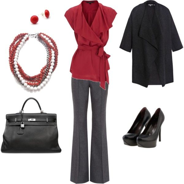 Red Black Grey Work Outfit, i want