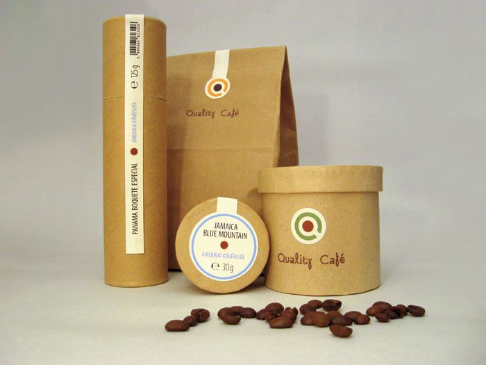 "Designed by László Sándor.   ""The goal was to create the corporate identity for this ""coffee shop"", which sells varieties of high-quality coffee. The company's initials shape is a coffee cup. The brown centre of letter ""Q"" can be used as colour codes on the packaging. The logotype is a modern, playful typeface which is to solve the geometric containment of the logo. Different shades of brown colour indicate the type of coffee roasting in the cup."